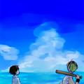 写真: 【夏の匂い】「ヤンキー先輩、西瓜重いよ」入道雲と、海が描きたかった。今年は海、行きたいなぁ。 #100e