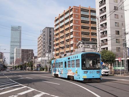 阪堺601形恵幸商事ラッピング後追いハルカスバック 上町線阿倍野~松虫