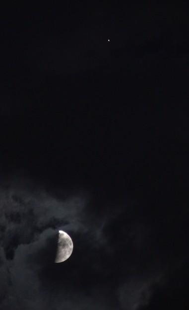縦に並んだ木星と半月。   DSC01921