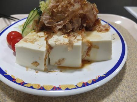 上越の湯 なごみ処 豆腐サラダ 盛り付けの様子
