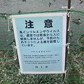 写真: 柵の警告文