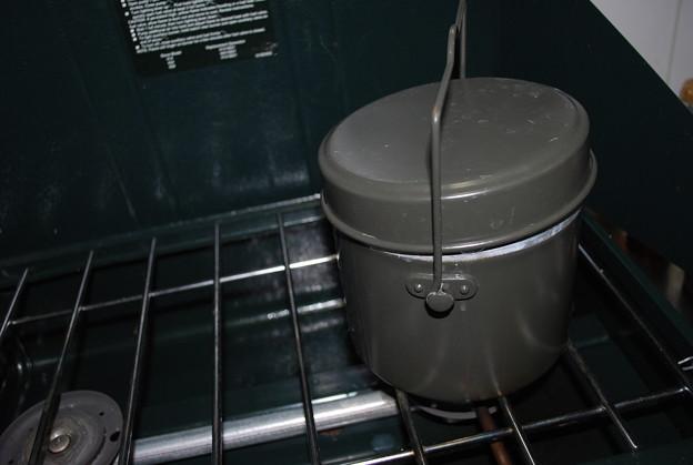 ツーバーナーで玄米炊飯
