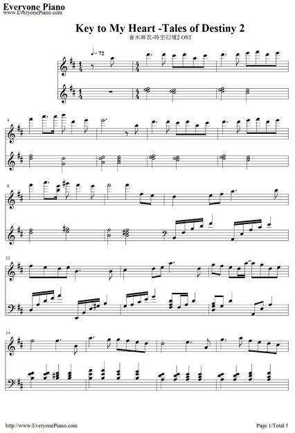 key to my heart- テイルズ オブ デスティニー2テーマソング楽譜