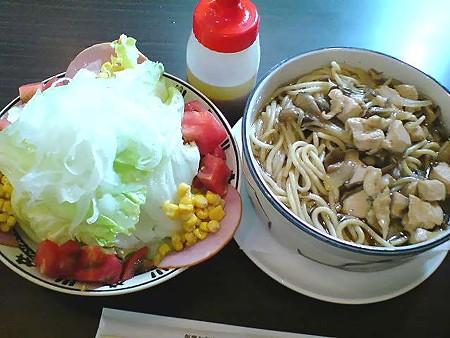 山菜スープスパ+レタスサラダ