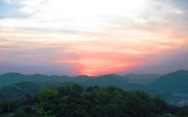 写真: さつき亭からの夕景