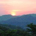 写真: 千光寺公園展望台下の坂道より夕日を望む