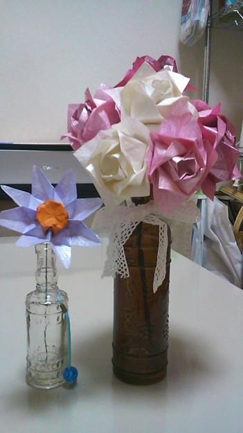 すべての折り紙 折り紙 バラの花束 : 折り紙でバラの花束出来た!...