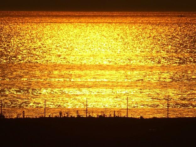 夕陽に照らされた大阪湾
