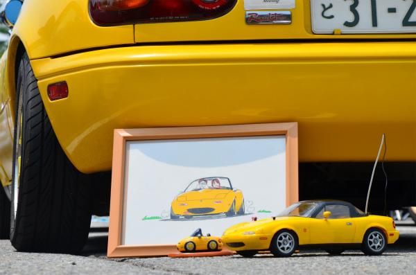 愛車仕様の絵と、ミニチュアと、ラジコンカー