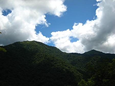 下から望む剣山(左)とジロウギュウ(右)